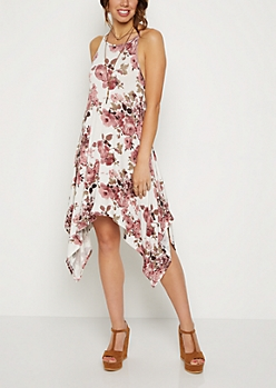 Ivory Floral Sharkbite Dress & Drop Necklace