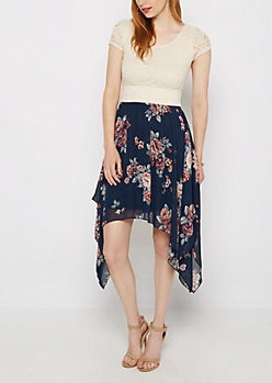 Navy Rose Sharkbite Dress