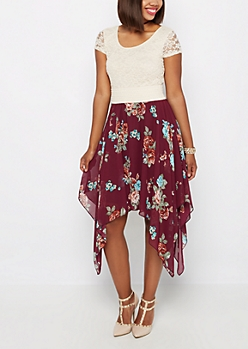 Burgundy Rose Sharkbite Dress