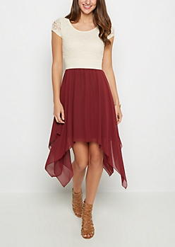 Burgundy Sharkbite Dress