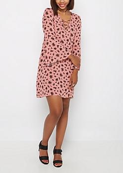 Pink Rose Lace-Up Dress