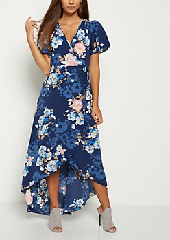 Blue Floral Surplice Wrap Maxi Dress