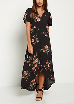 Black Floral Surplice Wrap Maxi Dress