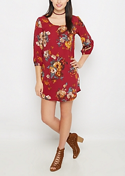 70s Floral Shift Dress
