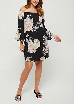 Floral Bell Sleeve Off Shoulder Shift Dress