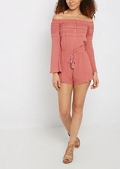 Daisy Crochet Off-Shoulder Romper