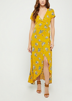 Mustard Floral Surplice Wrap Maxi Dress