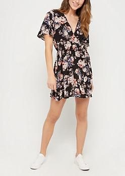 Black Floral Surplice Wrap Dress