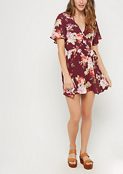 Red Floral Surplice Wrap Dress