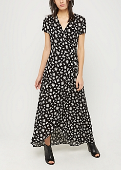 Black Rose Surplice Wrap Maxi Dress