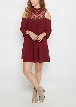 Crochet Yoke Cold Shoulder Shift Dress