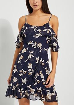 Navy Floral Off Shoulder Ruffled Dress