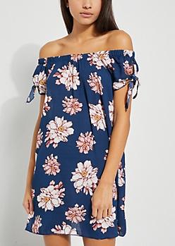 Navy Floral Off Shoulder Tie Sleeve Dress