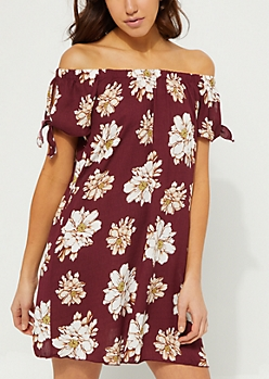 Burgundy Floral Off Shoulder Tie Sleeve Dress