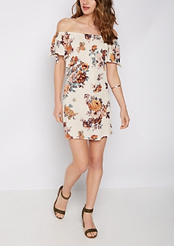 Rose Crepe Off Shoulder Shift Dress