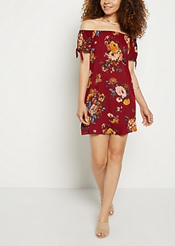 Floral Crepe Off Shoulder Shift Dress