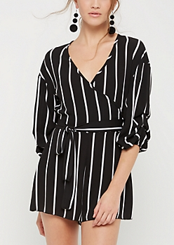 Striped Crepe Surplice Romper