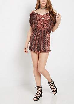 Floral Folklore Cold Shoulder Romper