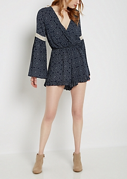 Medallion Surplice Bell Sleeve Romper