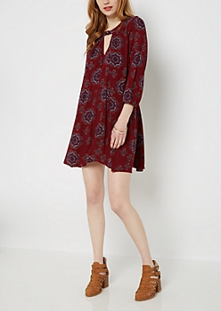 Boho Cutout Neck Tent Dress