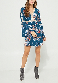 Dark Blue Floral Crochet Trim Crepe Dress