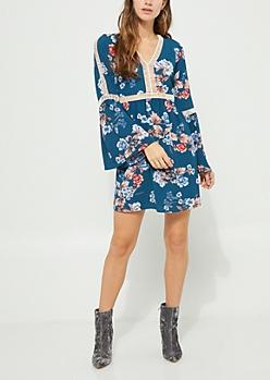 Dark Blue Floral Crochet Trim Crepe Dress