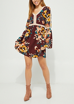 Burgundy Floral Crochet Trim Crepe Dress