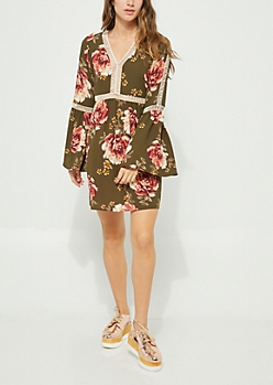 Olive Floral Crochet Trim Crepe Dress