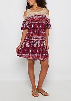 Floral Folklore Crochet Cold Shoulder Dress