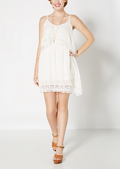 White Crochet Popover Gauze Sundress
