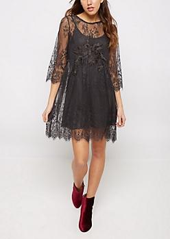 Charcoal Sheer Lace Mini Dress
