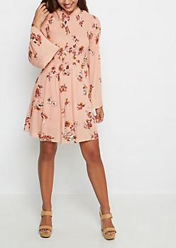 Floral Bell Sleeve Babydoll Dress by Clover + Scout®