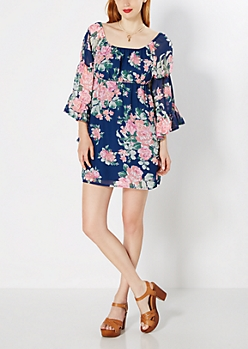Navy Floral Bell Sleeve Mini Dress