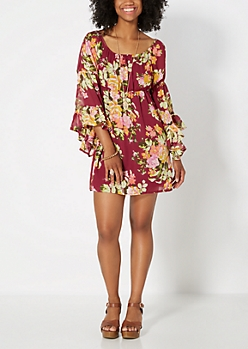 Burgundy Floral Bell Sleeve Mini Dress