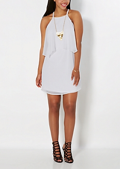 White Popover Chiffon Dress