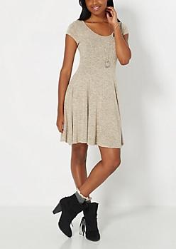 Marled Taupe Skater Dress
