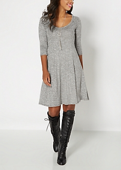 Marled Gray Classic Skater Dress