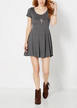 Charcoal Gray Static Skater Dress