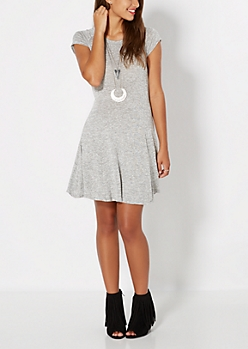 Gray Marled Skater Dress