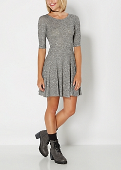 Marled Gray Fit & Flare Dress