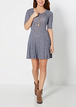 Marled Navy Fit & Flare Dress