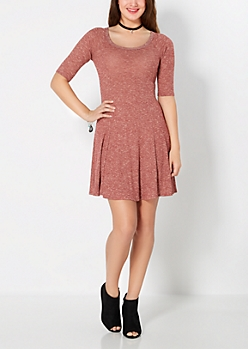 Marled Burgundy Fit & Flare Dress