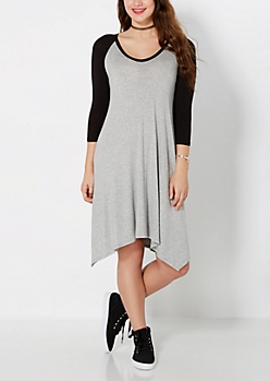 Gray & Black Raglan Sharkbite Dress