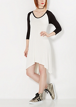 Black & White Raglan Sharkbite Dress