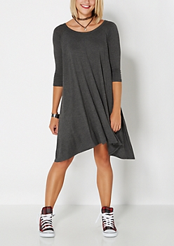 Charcoal Gray Sharkbite Tent Dress