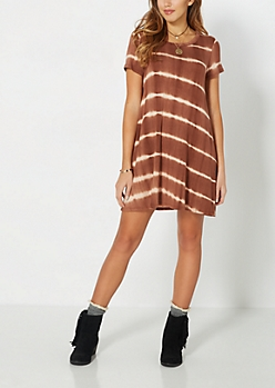 Brown Tie-Dye Shirt Dress