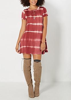 Burgundy Tie-Dye Shirt Dress
