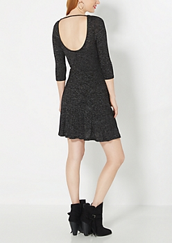Black Marled Knit Skater Dress
