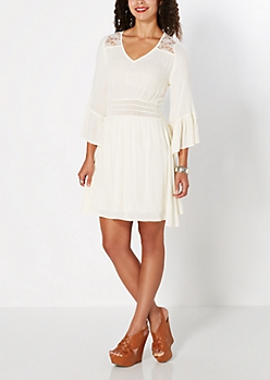 Cream Heaven Sent Chiffon Dress