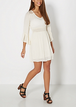 Ivory Daisy Illusion Bell Sleeve Dress